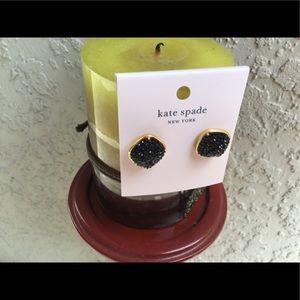 KATE SPADE BLACK AND GOLD SPADE STUDS EARRINGS